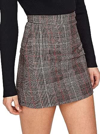 DIDK Elegante falda a cuadros para mujer, para oficina, estilo lápiz, ajustada a la figura, minifalda a cuadros con línea A, cintura alta, falda otoñal