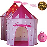 Future Founder Castle Kids Play Tent - Pink Pop Up Tent - Kids Indoor Outdoor Tent - Girls Toys With 3M Start Lights - Glow in the Dark Star