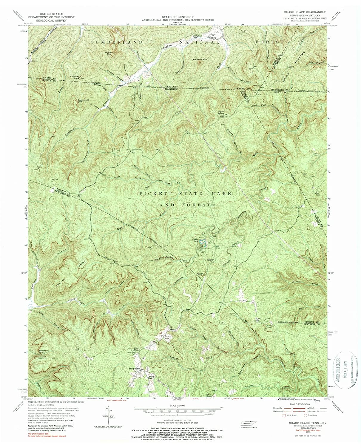 image relating to Printable Maps of Tennessee known as : Tennessee Maps 1955 Sharp Stage, TN USGS