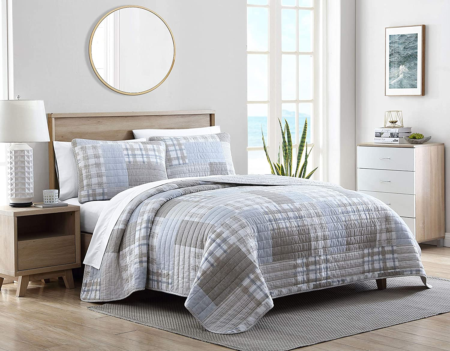 Nautica Home Clement Collection Luxury Ultra Soft Cotton Comforter 3 Piece Set, Stylish Delicate Design for Home Décor, King, Beige