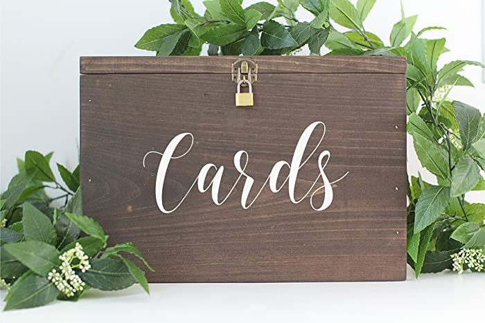 Amazon.com: Rustic Wooden Card Box with Lock | Rustic Wedding Decor ...