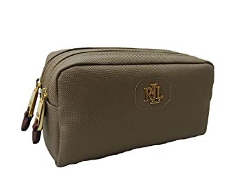b71b010003b9 Amazon.com   Lauren Ralph Lauren Nylon Bainbridge Double-Zip Cosmetic Case  (Khaki (3206)   Gold)   Beauty