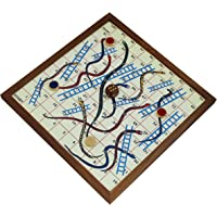 SKAVIJ RoyaltyLane Snakes and Ladders Game Jumbo 4 Player Board Fun Travel Games with 4 Wooden Coins and 1 Dice - 10.2 Inch