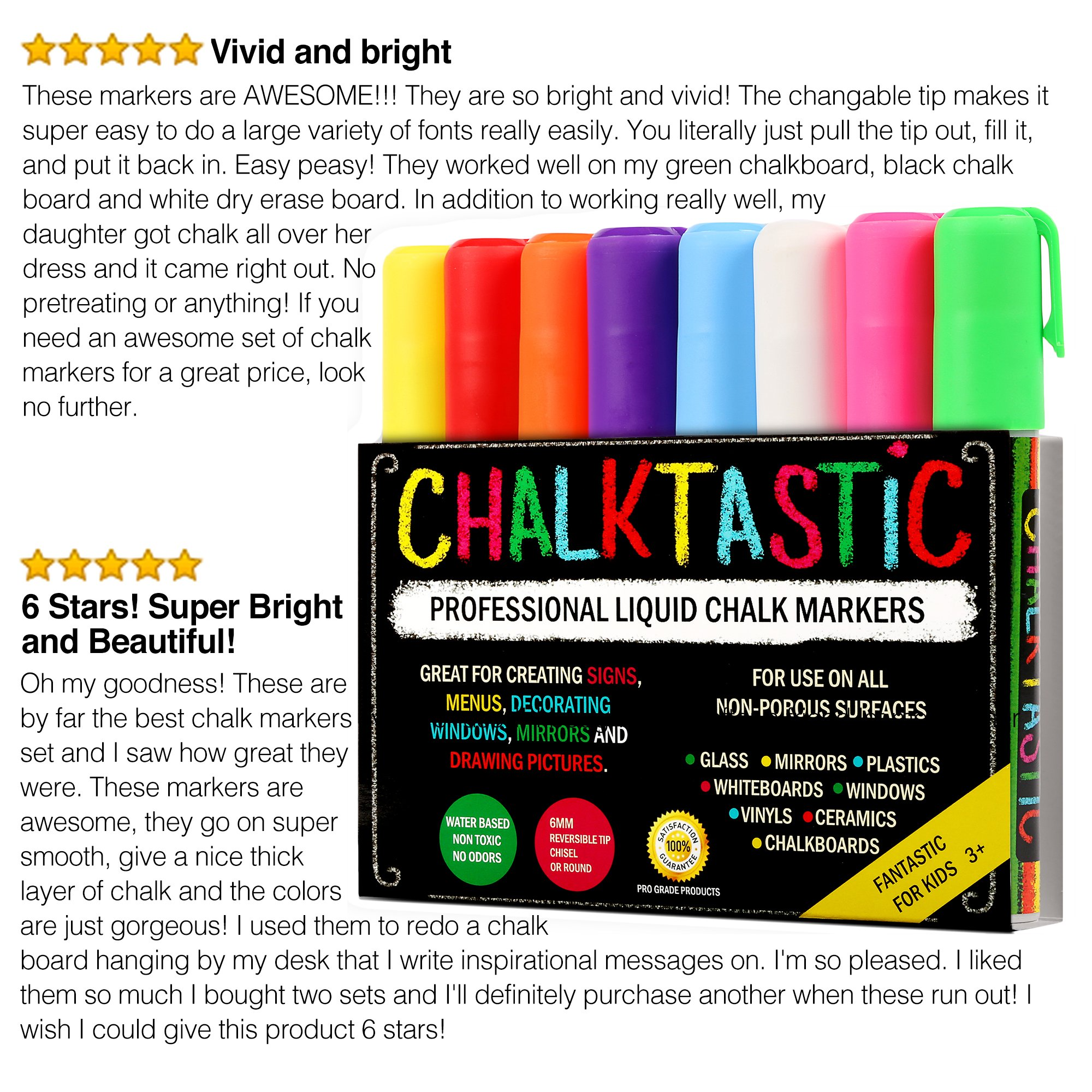 Chalktastic Chalk Markers by Fantastic Best for Kids Art, Chalkboard Labels, Menu Board Bistro Boards, 8 Glass Window Markers, Non-Toxic Erasable Liquid Pens Chisel or Fine Tip, Neon Colors