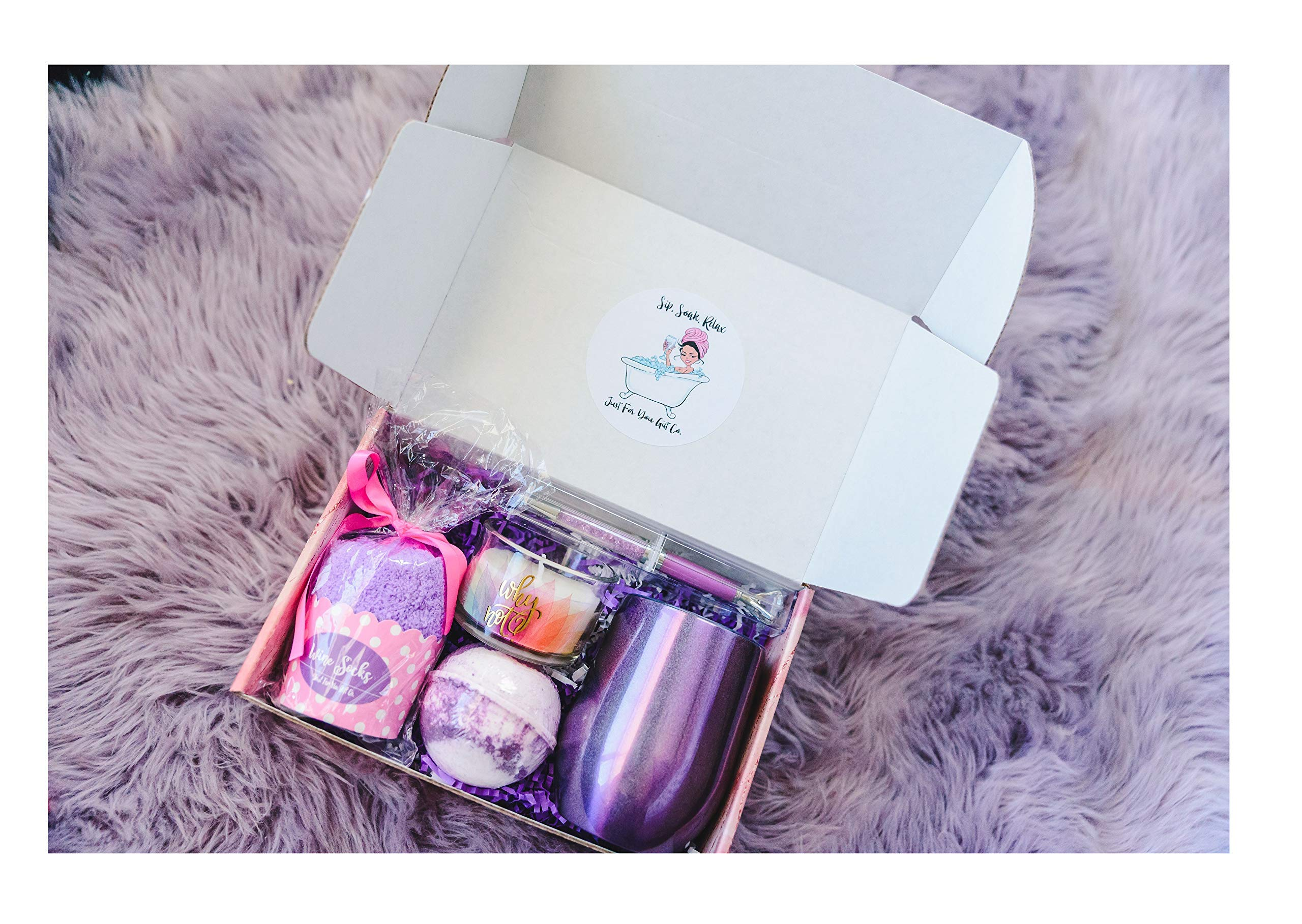 Birthday Gift for women Wine Tumbler Bath Fizzies Wine Socks Purple by Just For You Gift Company