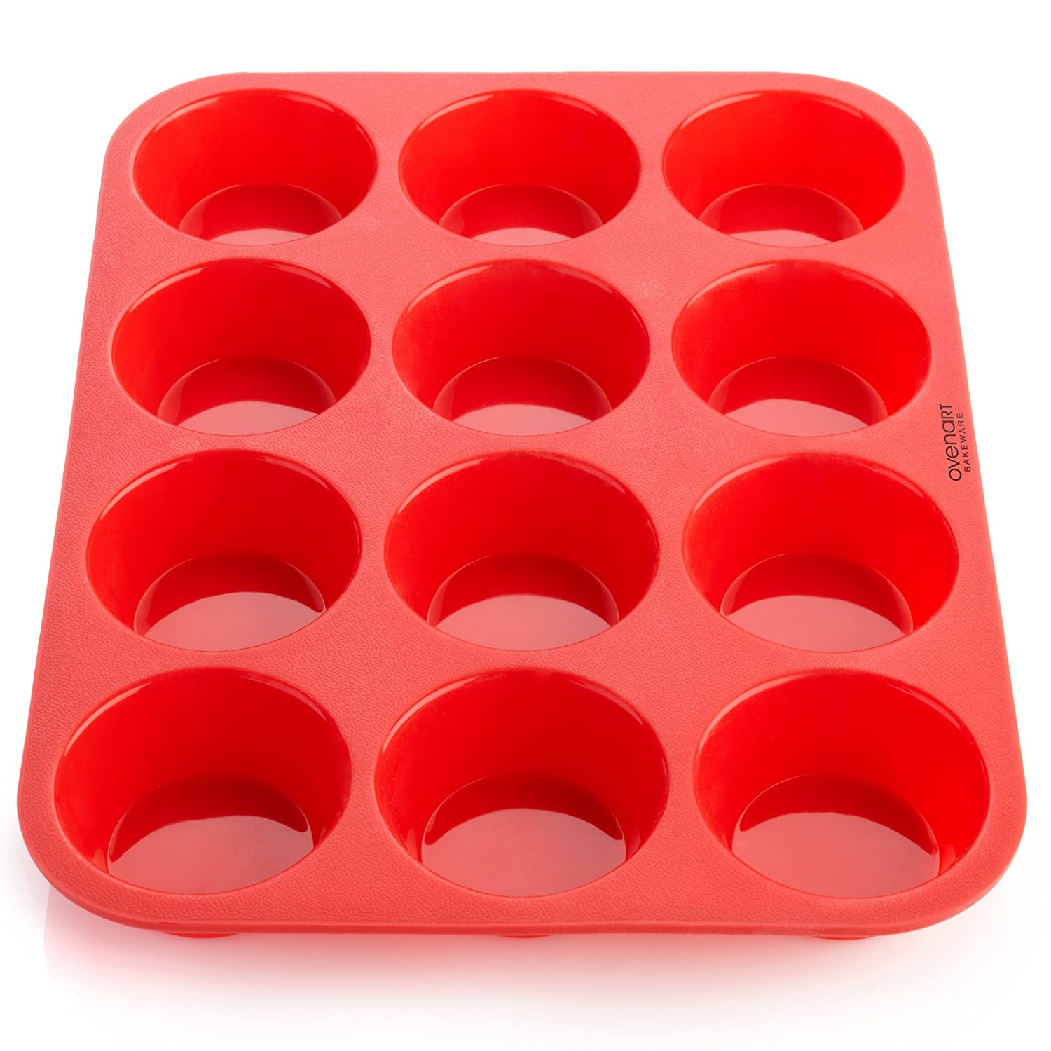 OvenArt Bakeware 12-Cup European LFGB Silicone Muffin Pan, Red