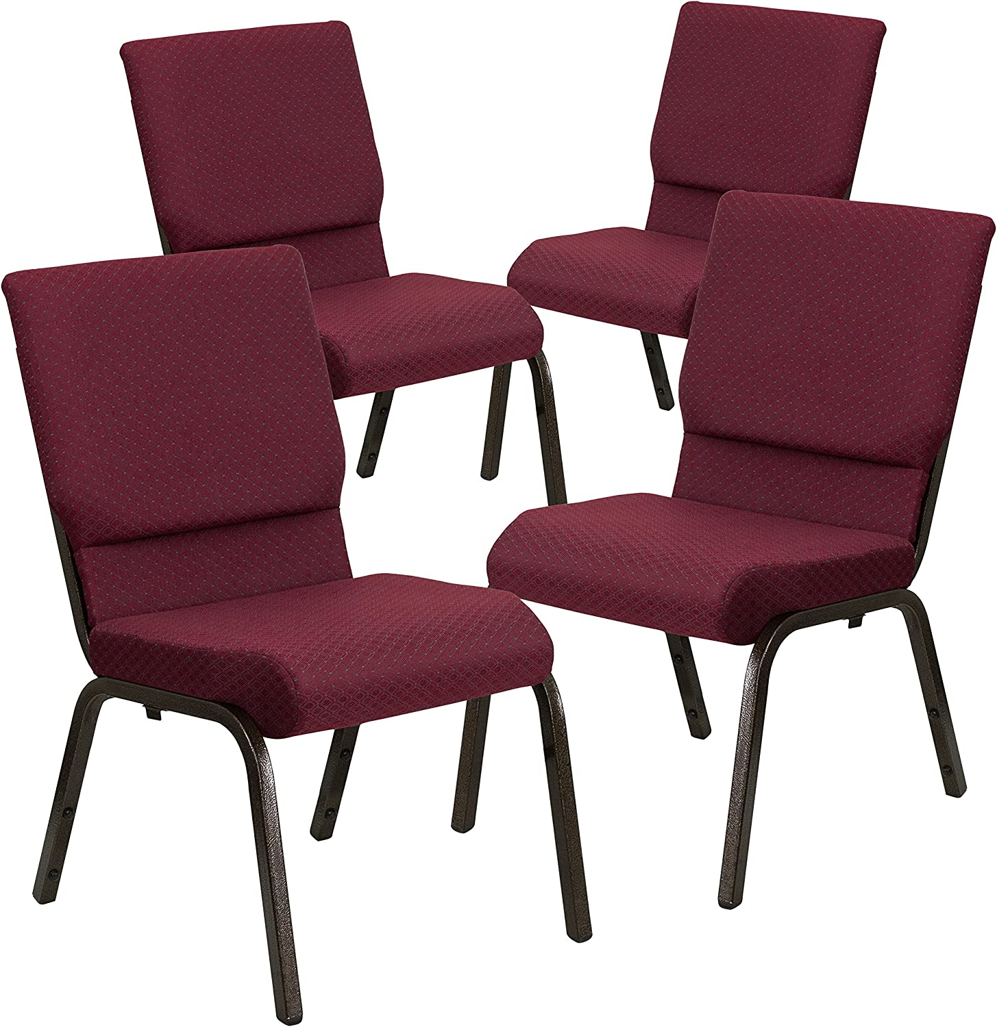 Flash Furniture 4 Pk Gold Vein Frame HERCULES Series 18.5W Stacking Church Chair in Purple Fabric
