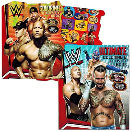 Amazoncom WWE Coloring Book Set with Stickers and Posters 2 Books