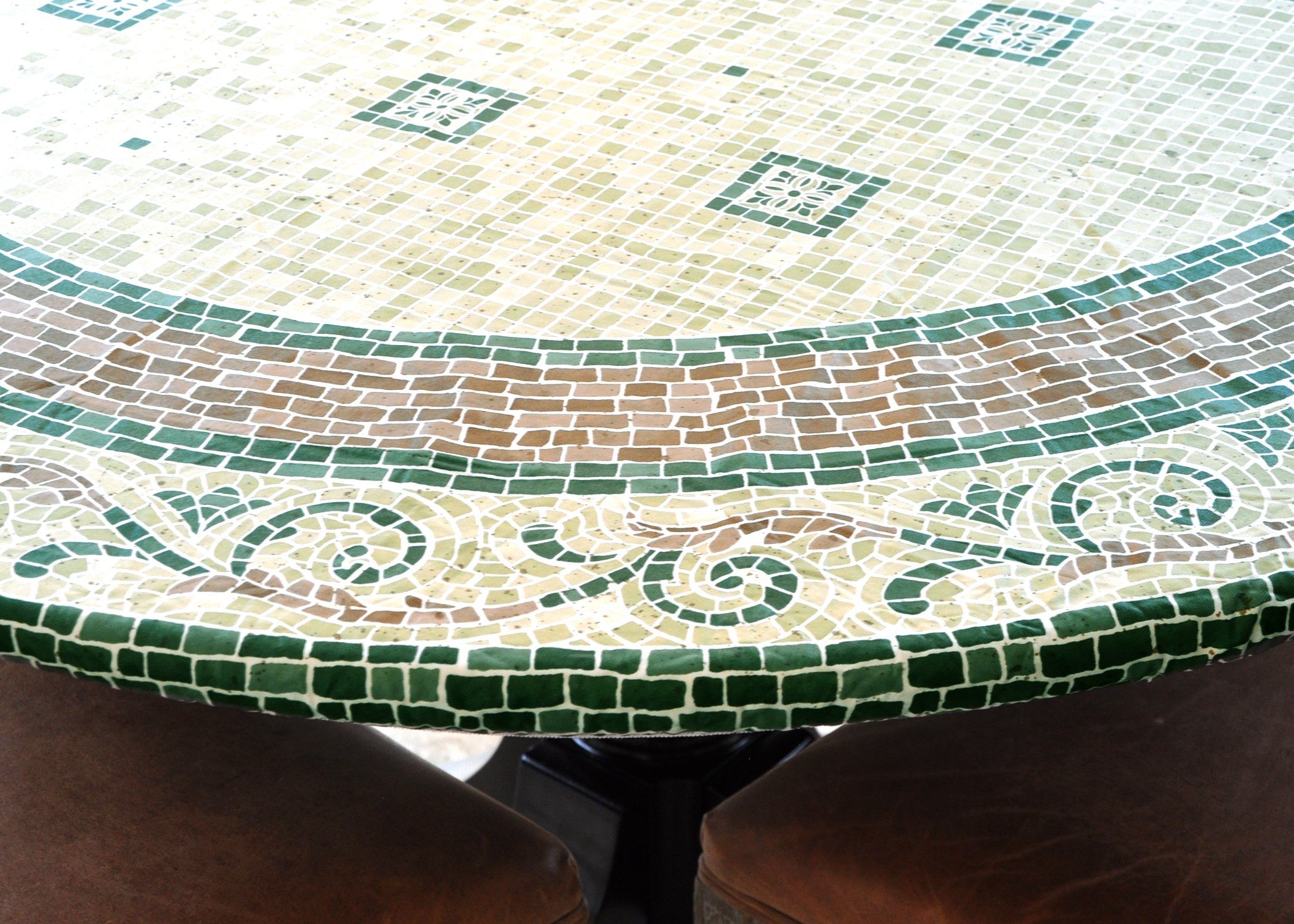 "LAMINET ELITE Elastic Edged Print Table Pad - MOSAIC GREEN - Large Round - Fits tables up to 45'' - 56"" Diameter - The ULTIMATE Protection For Your Table!!!"
