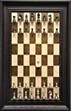 Metal Chess Pieces on Vertical Wall Mounted Maple Nut Series Straight Up Chess Board with Brown Traditional Frame