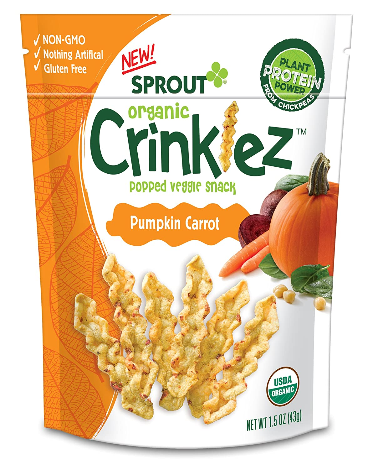 Sprout Organic Baby Food, Sprout Organic Crinklez Toddler Snack, Cheesy Spinach, 1.5 Ounce Bag (Pack of 1), Plant Powered, Popped Veggie Snack, Gluten Free, USDA Certified Organic, Nothing Artificial Sprout Foods Inc.