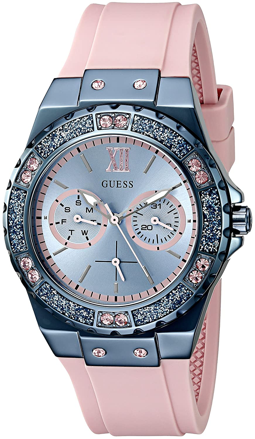 Amazon.com: GUESS Womens U0775L5 Sporty Blue Stainless Steel Watch with Multi-function Dial and Pink Strap Buckle: Watches
