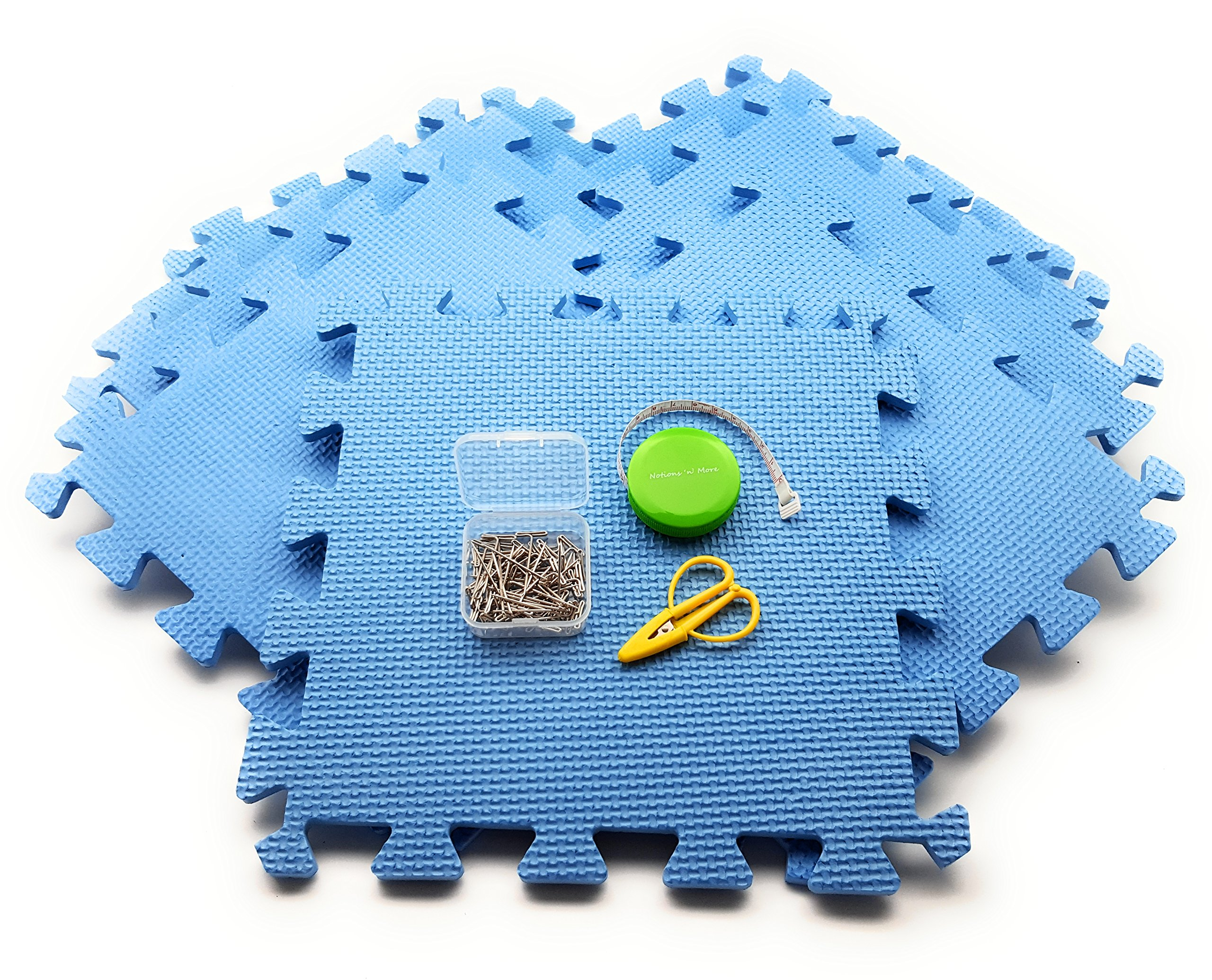 Blocking Mats Kit for knitting or crochet: 9 Foam Boards WITH ESSENTIALS PACK: Tape Measure, T-Pins 50 pack, SuperSnips Mini Scissors! NO CONFUSING GRIDLINES! by Notions 'n' More (Image #2)
