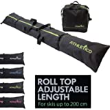 Athletico Ski Bag and Ski Boot Bag Combo - Ski Bags for Air Travel - Unpadded Snow Ski Bags Fit Skis Up to 200cm - for…