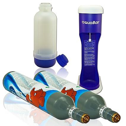 aquabar Azul + 2 x Co² Cilindro + Botella de cristal como revestidas Soda Stream de