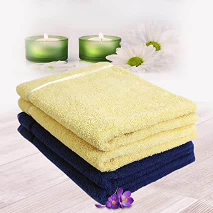 Story@Home 100% Cotton Soft Towel Set of 4 Pieces, 450 GSM - 4 Hand Towels - Navy Blue and Lemon Yellow