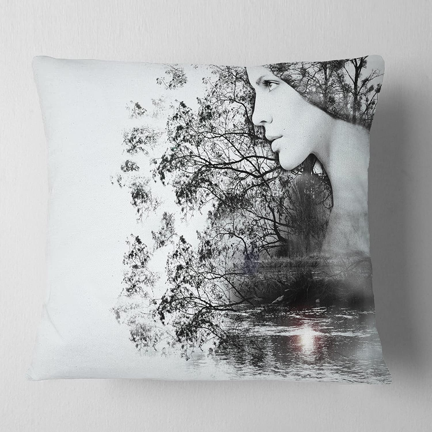 Designart CU14316-16-16 Woman and Beauty of Nature' Landscape Printed Cushion Cover for Living Room, Sofa Throw Pillow 16 in. x 16 in. in, Insert Side