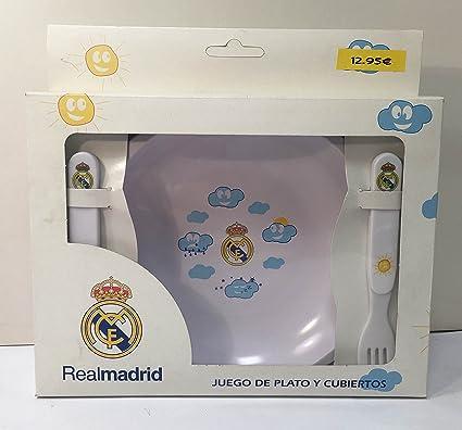 Juego de Plato y Cubiertos Real Madrid: Amazon.es: Bebé