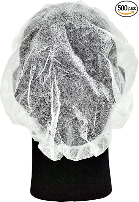 100 Disposable White Dust Net Caps Hair Stretch Non Woven Bouffant Spa Tan Cap