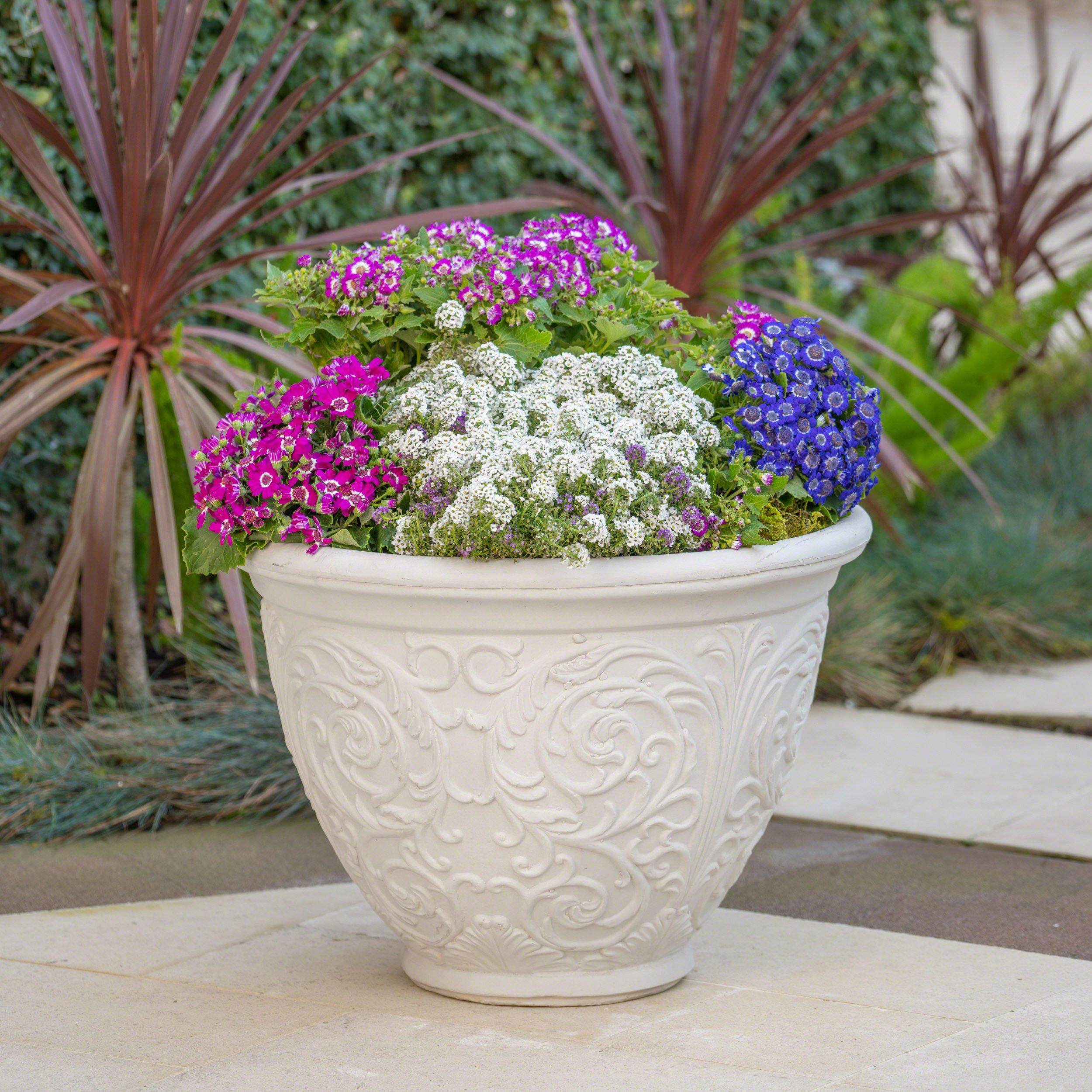 Great Deal Furniture Hardy Outdoor Antique White Finished Cast Stone Planter