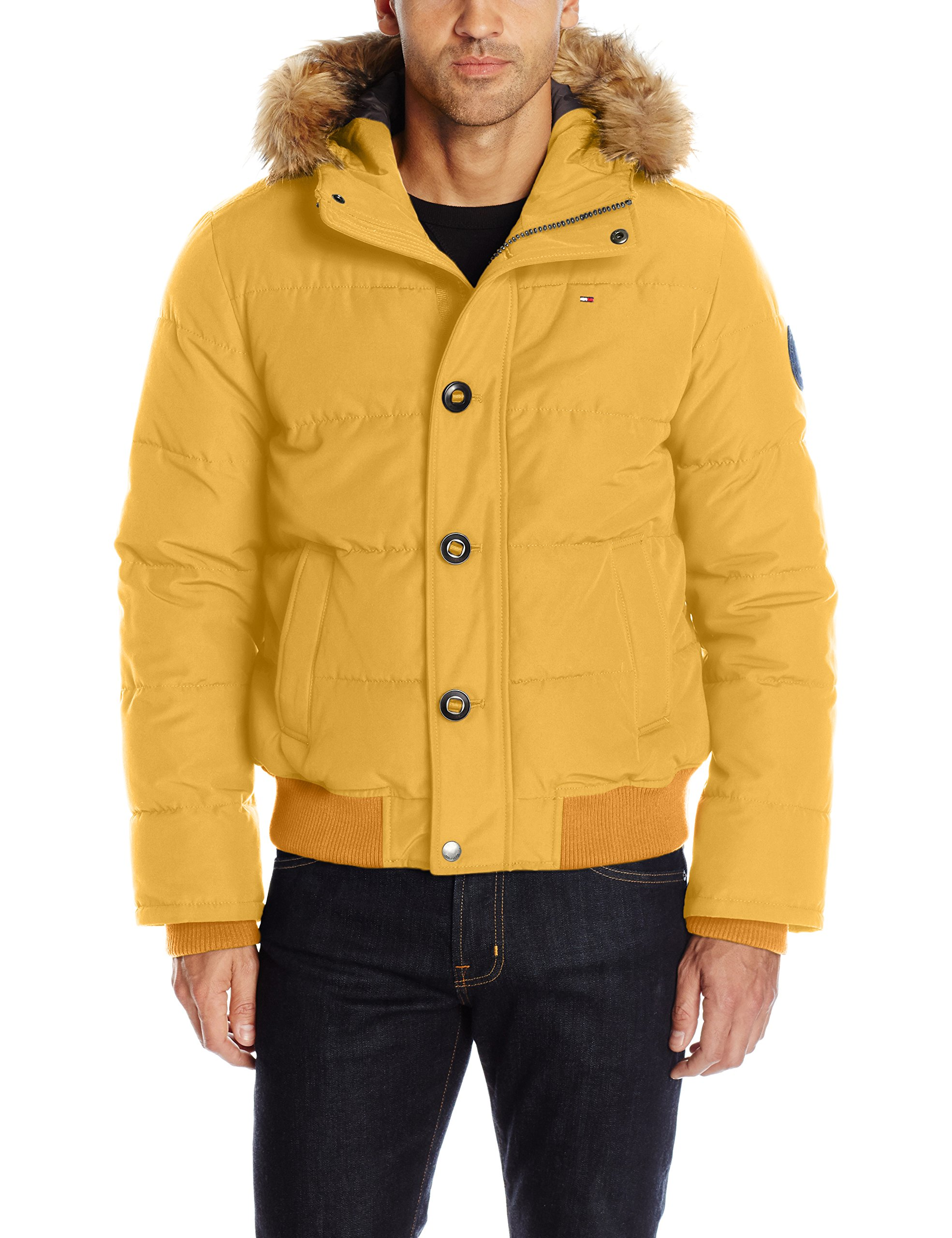 Tommy Hilfiger Men's Arctic Cloth Quilted Snorkel Bomber with Removable Faux Fur Trimmed Hood, Yellow, M