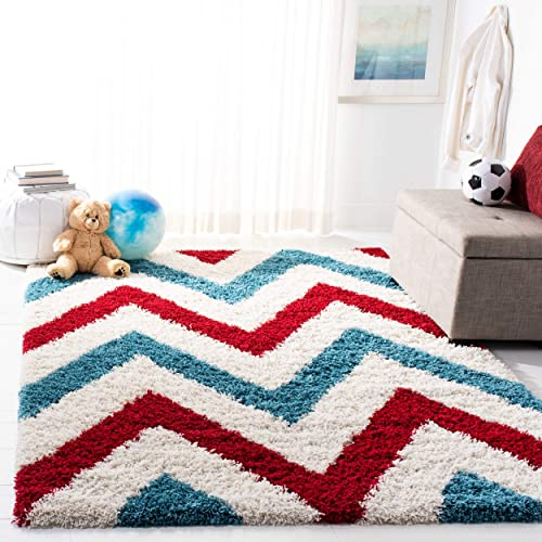 Safavieh Kids Shag Collection SGK564B Ivory and Red Area Rug 3 x 5