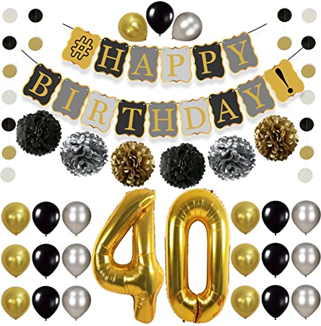 Vintage 40th BIRTHDAY DECORATIONS PARTY KIT Black Gold And Silver Paper PomPoms
