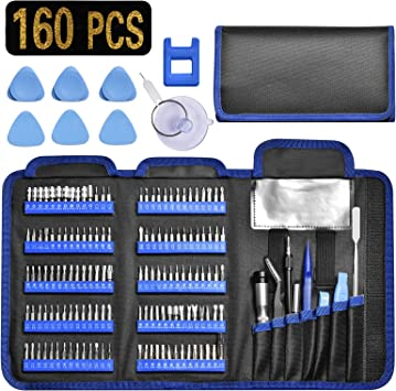 iPhone,PS4 Tablet Game Console PC MacBook GANGZHIBAO160 in1 Precision Screwdriver Set with 140 Bits Magnetic Driver Kit Professional Electronics Repair Tool Kit for Repair Computer Laptop