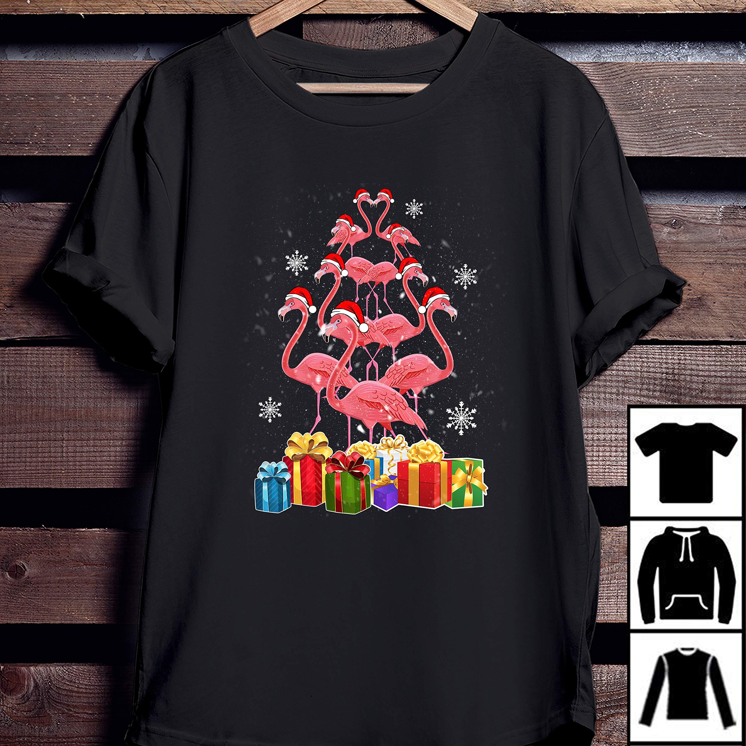 Flamingo Christmas Tree Gift Tshirt For Gift Tshirt Christmas Day Tshirt Long Tshirt