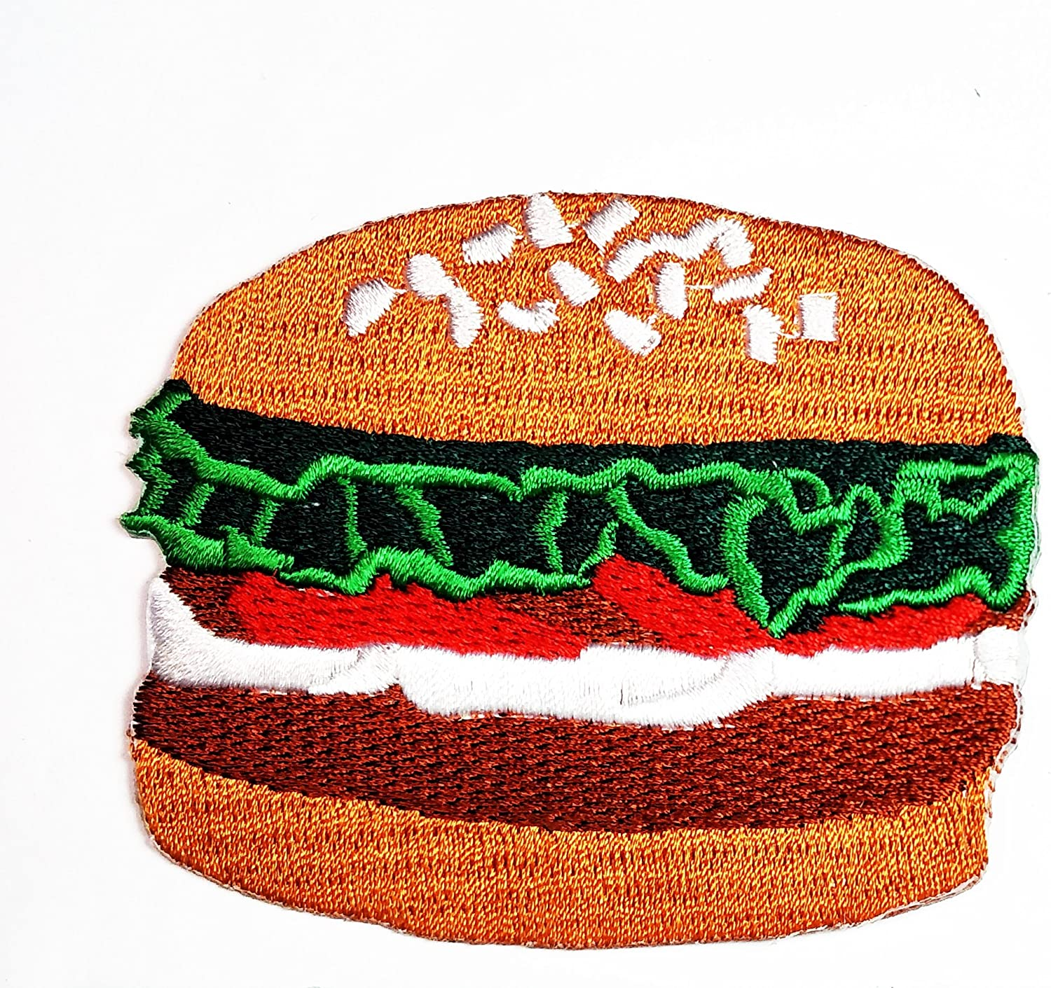 HHO Cheeseburger Hamburger Fast Food Patch Embroidered DIY Patches, Cute Applique Sew Iron on Kids Craft Patch for Bags Jackets Jeans Clothes