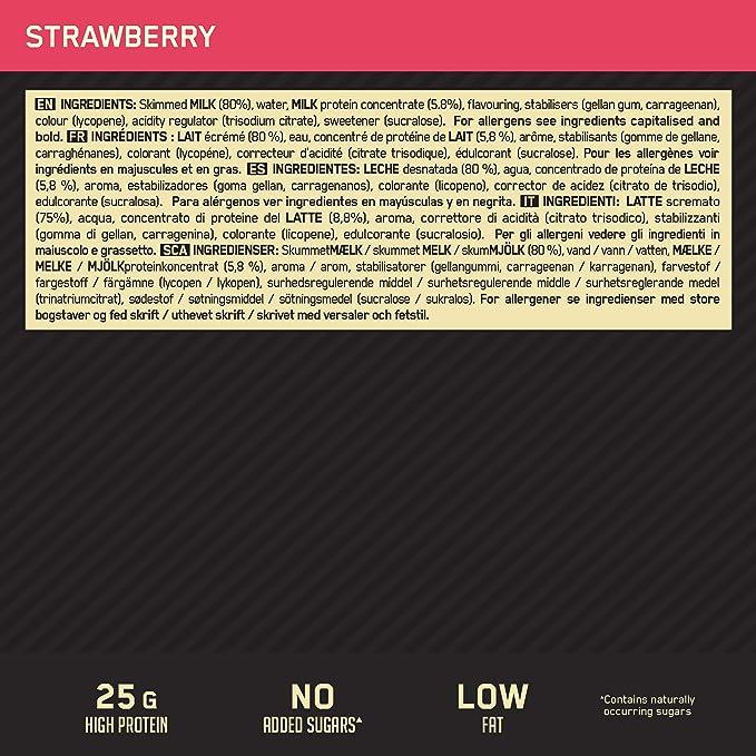 Optimum Nutrition High Protein Shake, Batidos de Proteinas para Aumentar Masa Muscular, Paquete de 10 Batidos, Fresa, 10x330ml