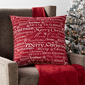 "Greendale Home Fashions Merry Christmas 18"" Square Holiday Throw Pillow, Red"