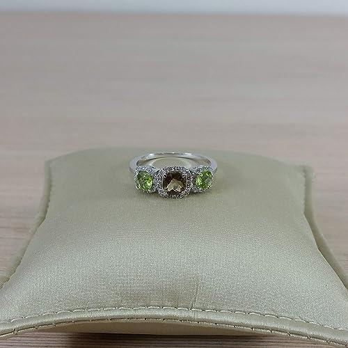 Careful Solid 14k Yellow Gold Genuine Natural Green Peridot Engagement Diamonds Ring Fine Jewelry