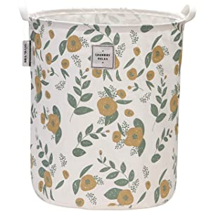 "Sea Team 19.7"" x 15.7"" Large Sized Folding Cylindric Canvas Fabric Laundry Hamper Storage Basket with Floral Pattern, Green & Yellow"