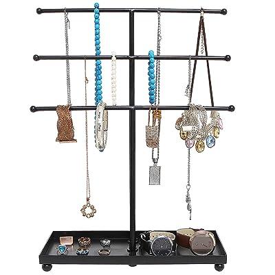 3 Tier Tabletop Bracelet /& Necklace Jewelry Organizer Tree Rack w//Ring Tray