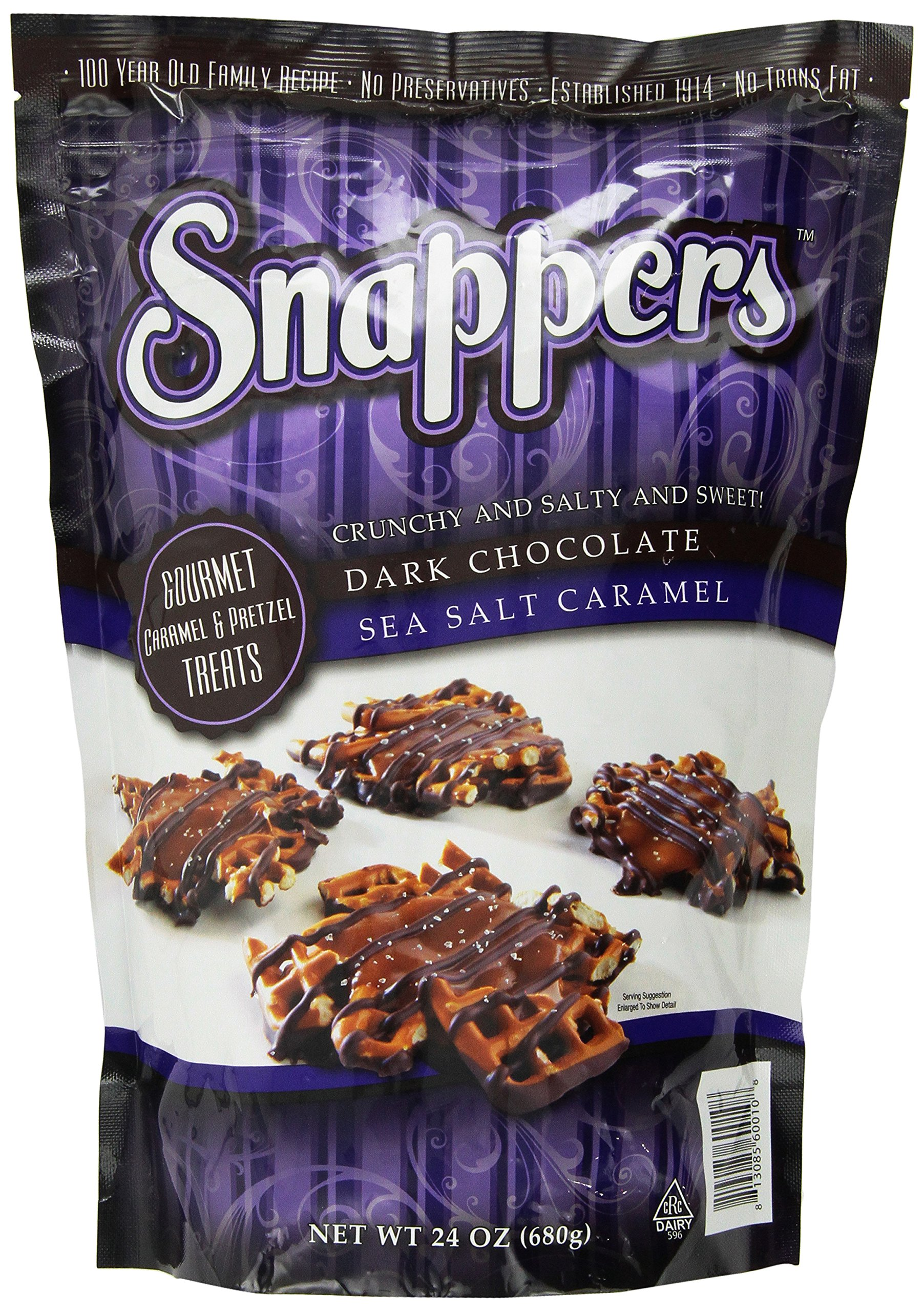 Snappers Gourmet Caramel 6 Pretzels Treats Crunchy, Salty, Sweet, Dark Chocolate, Sea Salt Caramel 24 Oz. (Pack of 3) by Snappers Gourmet