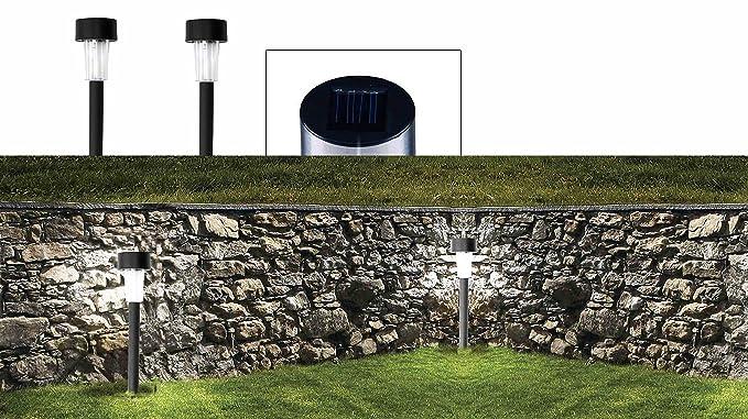 Set lampade led da cm a energia solare segnapasso da