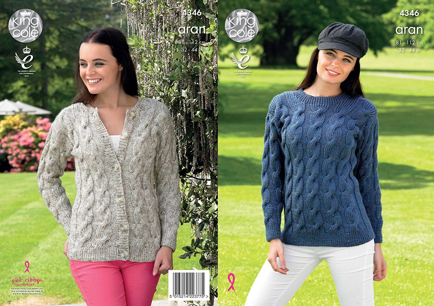 King Cole Ladies Knitting Pattern Womens Cable Detail Sweater & Cardigan Fashion Aran (4346)