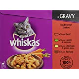 Whiskas Traditional Dishes in Gravy 12 Pouches (Pack of 4, Total 48 Pouches)