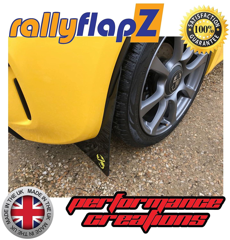 RFABARTH-BLK-SCORP-Y Black 4mm PVC rallyflapZ//Set of 4 Custom Made Mud Flaps Including Fixing Hardware /& Instructions