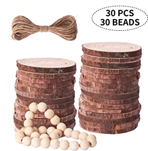 Prsildan Natural Wood Slices With Holes 2.4-2.8 Inches 30 Pcs DIY Wooden Craft Bead 30Pcs Wooden Ornaments Unfinished For Christmas Crafts