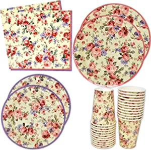 """Vintage Floral Party Supplies Set Include 24 9"""" Plates 24 7"""" Plate 24 9 Oz Cup 50 Lunch Napkin for Bridal Baby Shower Wedding Reception Garden Blossom Flower Birthday Tea Party Tableware Gift Boutique"""