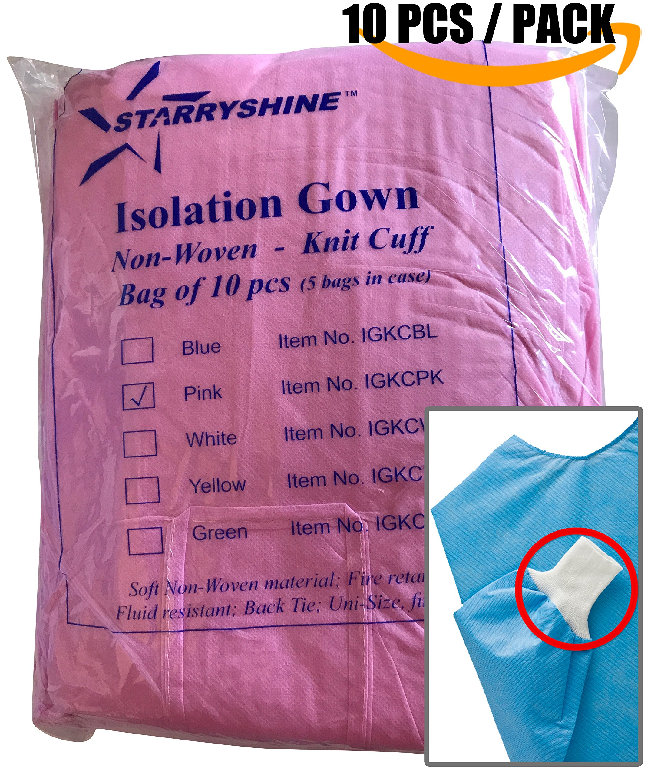 Dental Medical Latex Free Disposable Isolation Gowns Knit Cuff Non Woven | Fluid Resistant (10 Gowns/Pack, Pink)