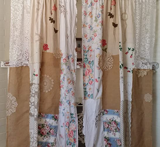 Boho Shabby Chic Curtains White IN STOCK Multicolor HippieWild Roses Floral Crochet