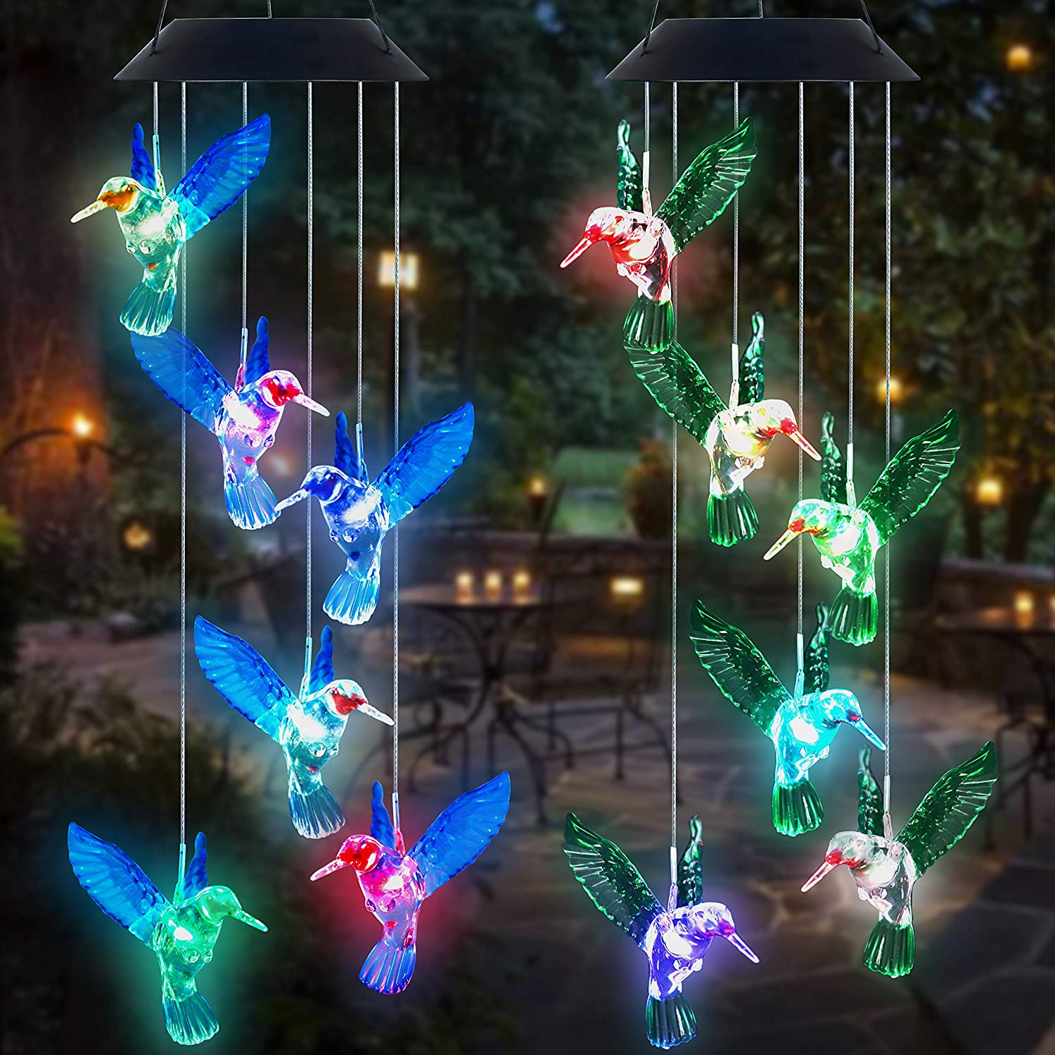 YOUYUAN 2 Pack Hummingbird Wind Chimes Blue and Green Color Solar Powered LED Automatic Color Changing Mobile Wind Chimes Outdoor Hanging Patio Light for Home, Porch, Deck, Garden Party Decoration