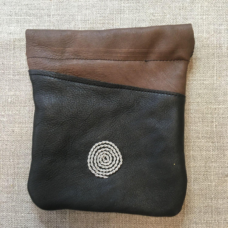 Handmade Saami Reindeer Leather Pewter Coin Purse Spiral Design