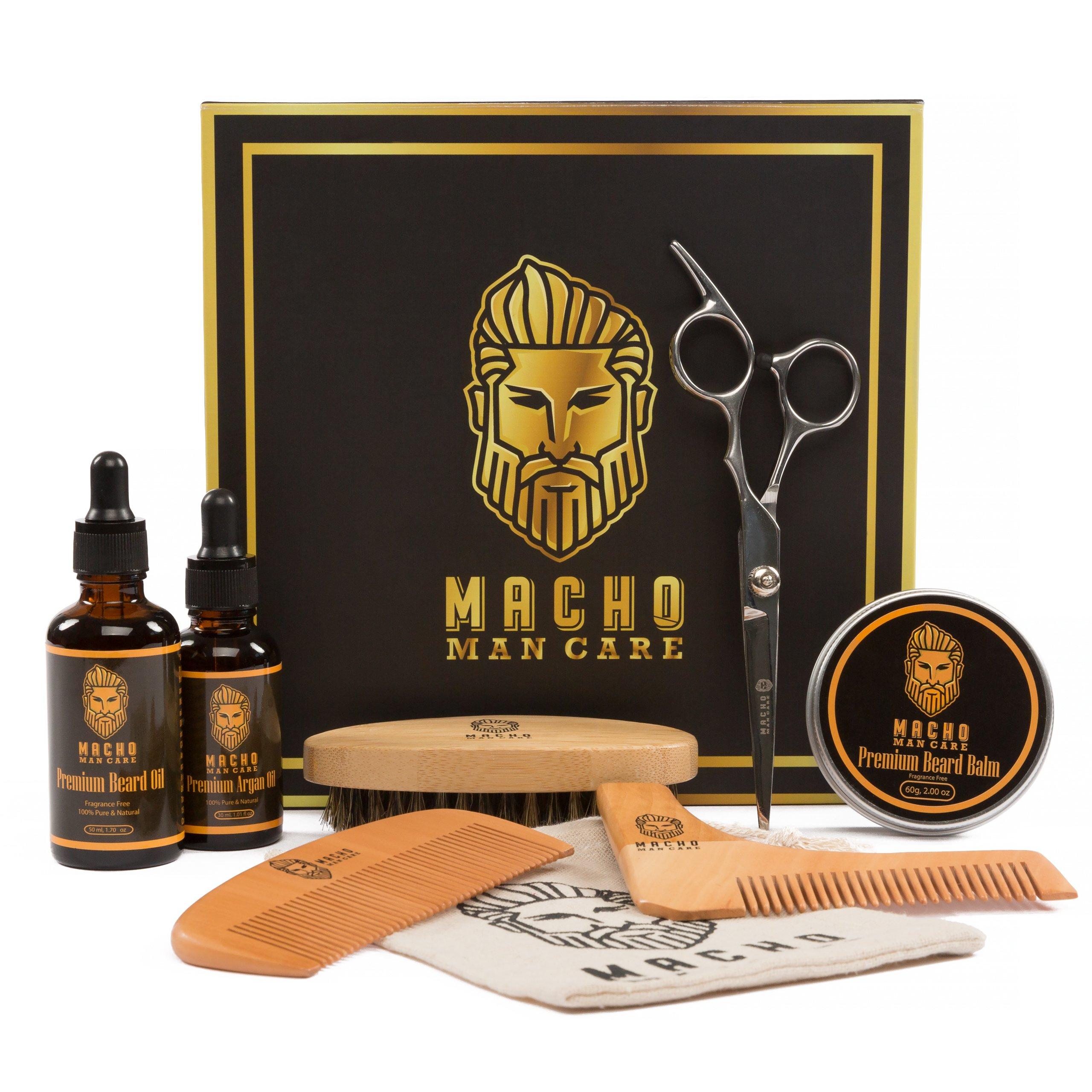 Deluxe Beard Grooming Kit - Beard Brush, Beard Oil for Men, Beard Comb, Beard Balm, Mustache Scissors, Beard Shaping Tool, Argan Oil - Luxurious Best Mens Trimming and Maintenance Beard Care Kit