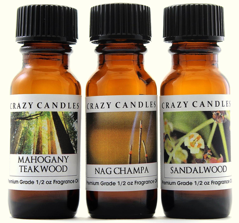 Crazy Candles 3 Bottles Set, 1 Mahogany Teakwood, 1 Nag Champa, 1 Sandalwood 1/2 Fl Oz Each (15ml) Premium Grade Scented Fragrance Oils