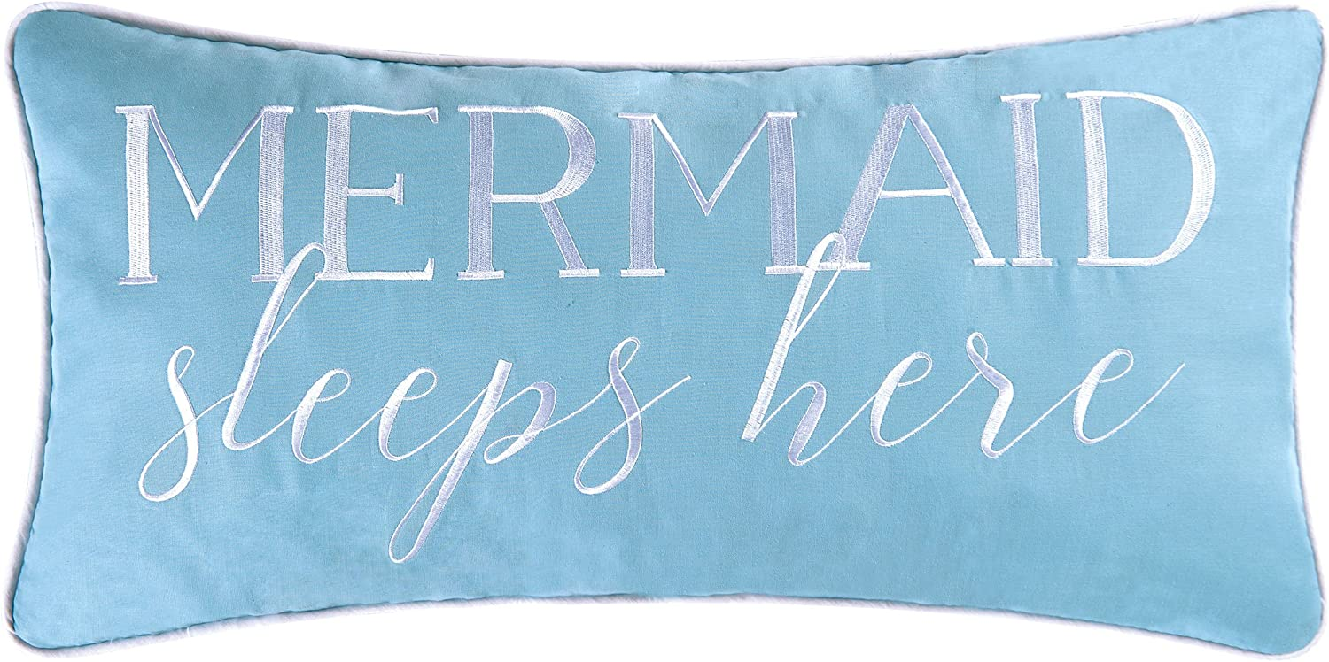 C&F Home Mermaid Sleeps Here Embroidered Pillow 12 x 24 Multi