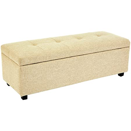 Red Hook Meknes Storage Ottoman Bench with Fabric Upholstery – 48 x 17 x 16 Inches, Almond